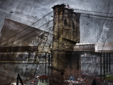Abelardo Morell Tent-Camera Image on Ground Rooftop View of the Brooklyn Bridge Brooklyn Side