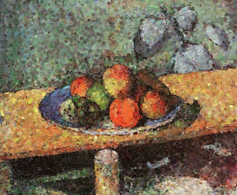 vik muniz Apples Peaches Pears and Grapes After Cezanne 2003
