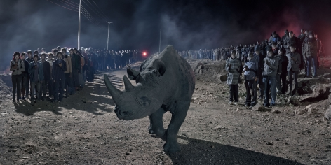 nick brandt, river of people with blind rhino
