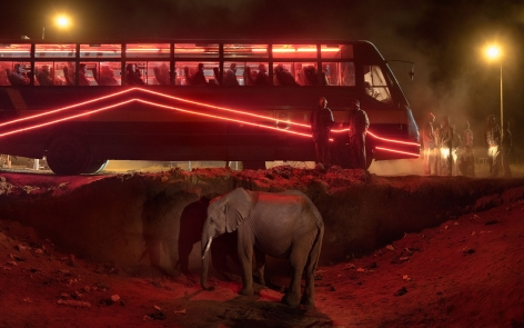 nick brandt, bus station with elephant & red bus