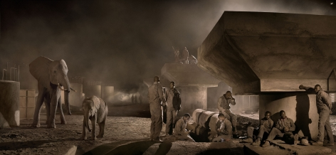 Nick Brandt, bridge construction with elephants & workers at night
