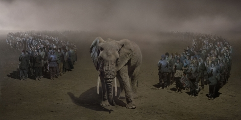 nick brandt, river of people with elephant at night