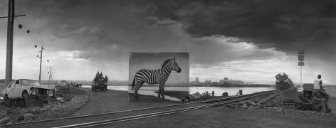 Nick Brandt road to factory with zebra
