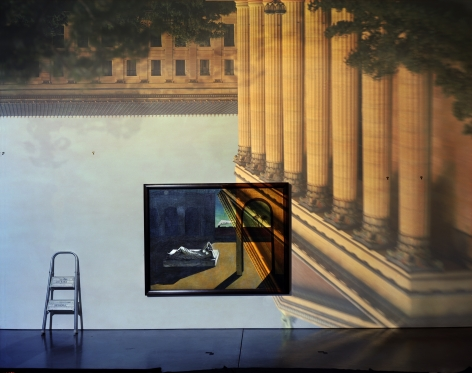 Abelardo Morell Camera Obscura Image of the Philadelphia Museum of Art East Entrance in Gallery with a de Chirico Painting