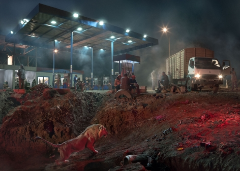 nick brandt, petrol station with lion