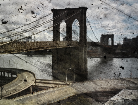 abelardo morell tent camera image on ground rooftop view of the brooklyn bridge