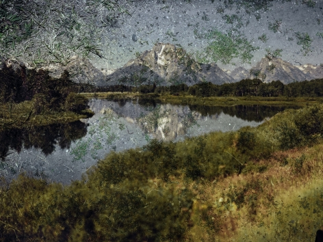 abelardo morell, tent-camera image on ground: view of mount moran and the snake river from oxbow bend, grand teton national park, wyoming
