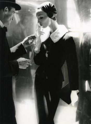 Lillian Bassman By Night, Shining Wool and Towering Heel, Evelyn Tripp, Suit by Handmacher, New York, Harper's Bazaar