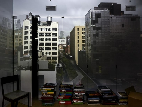 Abelardo Morell Camera Obscura View of the High Line from 23rd Street Looking North in Room with Books