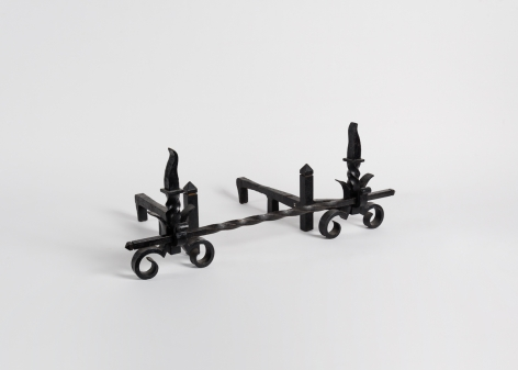 Pair of Art Deco Andirons with a Crossbar