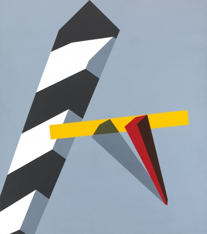 Gray background with black and white stripe, plus yellow rectangular form and red rectangular form