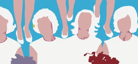Four Faceless women with white clothing and hair and six legs with white shoes