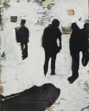 Shadow Figures in the City, 1959, Acrylic and paper collage on canvas board