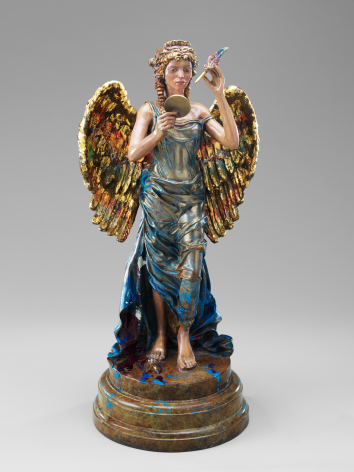 Maquette for Recording Angel, 2008, Patinated and gilded bronze