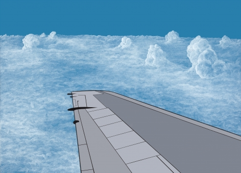 Blue sky with intricately rendered clouds, and gray, simplified airplane wing jutting out of lower right corner