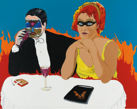Last Call (Marlene Dietrich in Hell), 1988, Acrylic and paper collage on canvas
