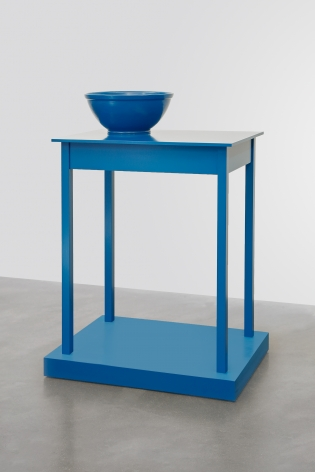 Untitled (a table that looks like a sculpture), 2016, Enamel on aluminum, eastern maple, and plywood