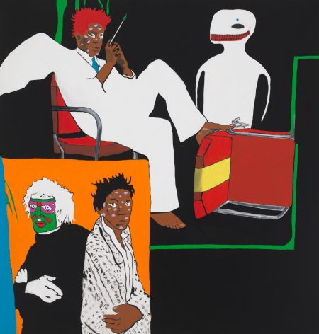 Hello and Goodbye (Art History: Warhol and Basquiat), 1988, Acrylic and paper collage on canvas