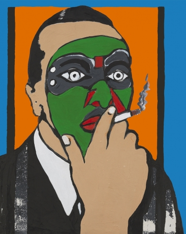Noël Coward, 1986, Acrylic and paper collage on canvas