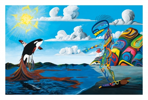 Killer Whale Has A Vision and Comes to Talk to Me about Proximological Encroachments of Civilizations in the Oceans, 2010, Acrylic on canvas