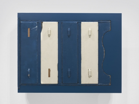 Untitled (found blue chest), 2011, Enamel on eastern maple, found chest