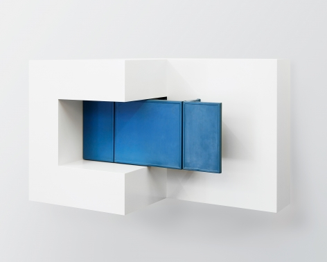 Untitled (with cabinet), 2016, Enamel on eastern maple and plywood, found table