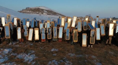 Mirror Shield Project,2016, Performed onNovember 18, 2016 at Oceti Sakowin Camp, Standing Rock, ND