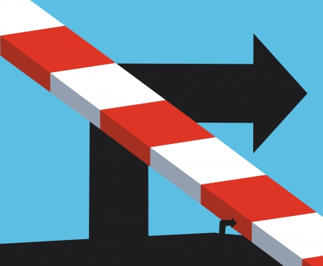 Two black right-turn arrows on light blue background with white and red striped diagonal