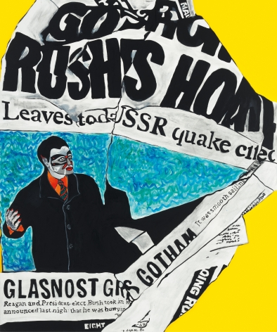 Glasnost, 1988 Acrylic and paper collage on canvas