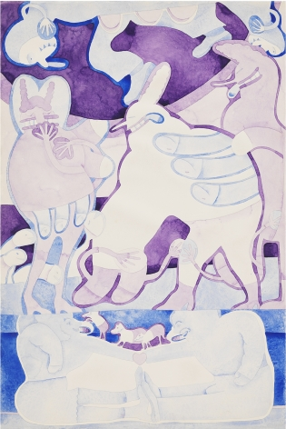 Gladys Nilsson, 2 Color Painting: Purple and Blue, 1969