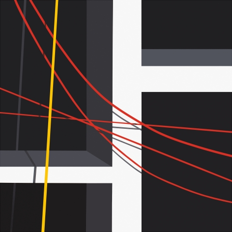 Black background with geometric white bars and yellow and red lines curving across