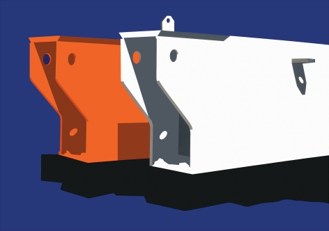 Blue background with orange and white mechanical forms