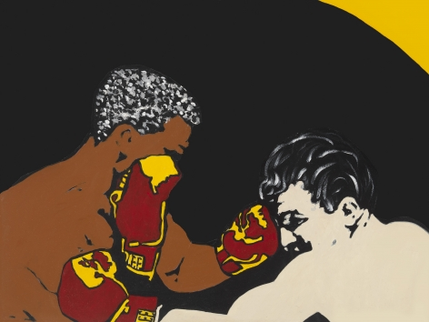 """Prize Fight (Jake LaMotta and """"Blackjack"""" Billy Fox), 1997, Acrylic and paper collage on canvas"""