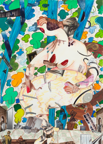 A Girl in the Arbor #4, 2013, Mixed media on paper