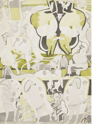 Gladys Nilsson, 2 Color Painting: Charkole & Green, 1969