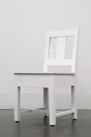 A Slatback Chair with Glass, 2018, Enamel on eastern maple, glass