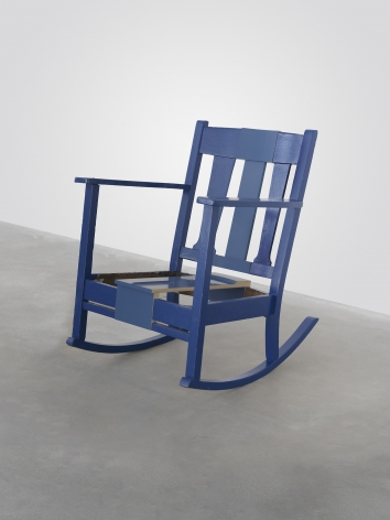 A Rocking Chair (that never had a seat) I Painted Blue When I Was Sixteen, 2011, Enamel on found chair