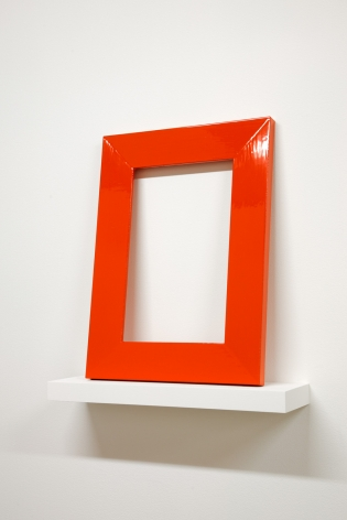 A Lamp Table and Picture Frame Each with Thirty Coats of Red Paint That Are Not to Be in the Same Room with Each Other, 2012, Enamel on maple