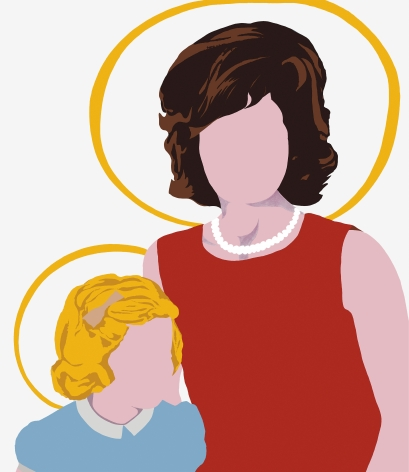Woman and child without faces with yellow halos circling their heads