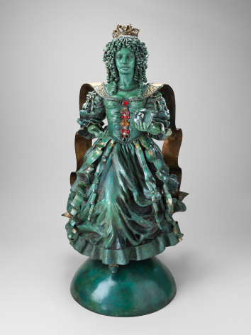 Maquette for Queen Cathering of Braganza, 1994, Patinated and gilded bronze
