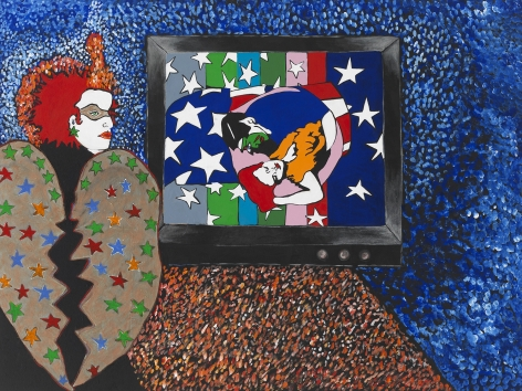 Midnight Blue, 1989, Acrylic and paper collage on canvas