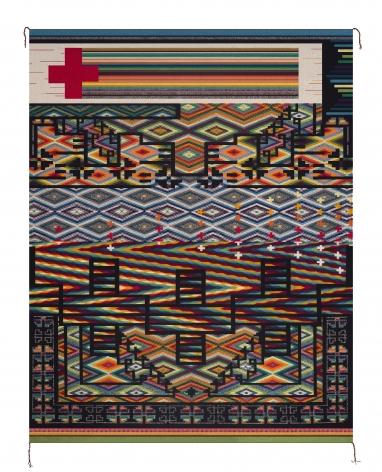 Dopamine Regression, 2010, Wool, aniline dyes, wool warp, selvedge cords