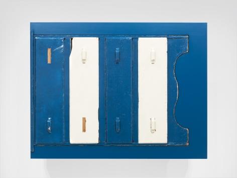 Untitled (found blue chest), 2011, Enamel on eastern maple, found chest