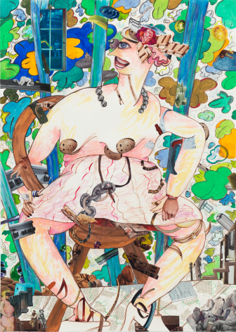 A Girl in the Arbor #3, 2013, Mixed media on paper