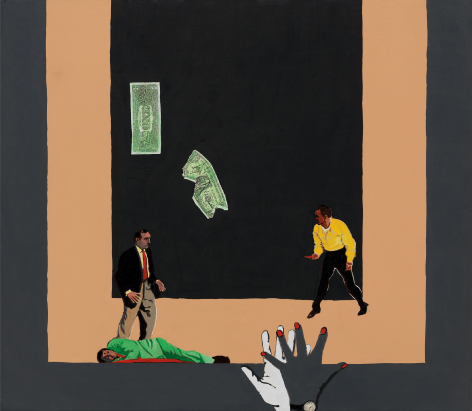 Money Mad, 1988, Acrylic and paper collage on canvas