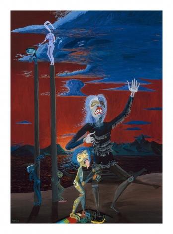 Shaman Dancing in Sunset, 1989, Acrylic on canvas