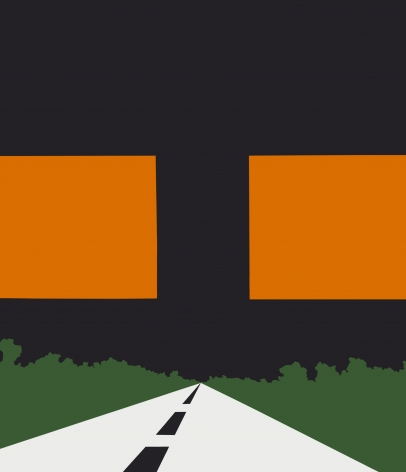 White roadway with green landscape, black sky and two orange squares in center of canvas