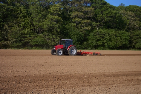 Disking beautiful friable soil in the spring