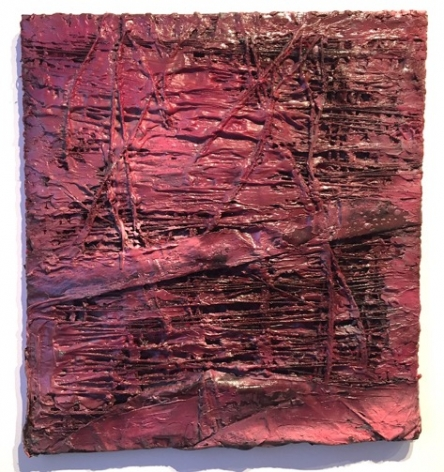 Vaughn Spann No More Red Velvet?, 2017 clay, spray paint, acrylic paint, yarn, fabric on stretcher bars 24 x 22 inches signed verso by artist