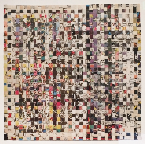 Johnathan Payne Untitled (Him), 2016 woven shredded comic books and adhesive 10.5 x 10.5 inches